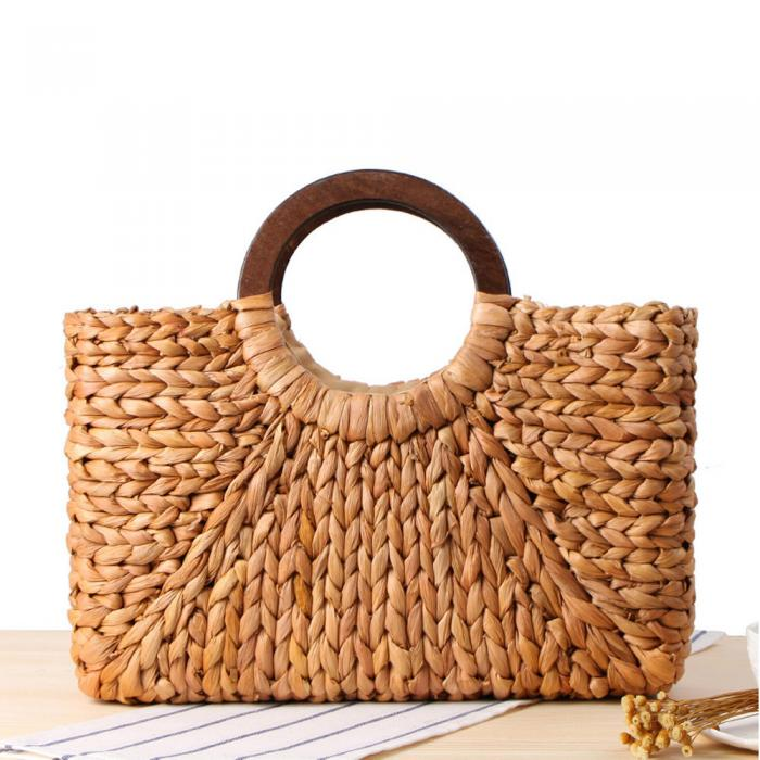 Factory Rectangle straw corn husk bags ladys fashion bags for sale circle handle