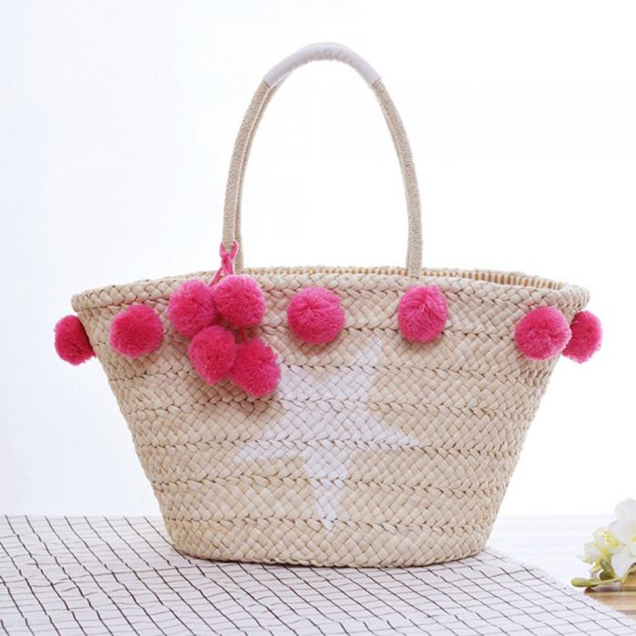 Pom pom straw bag recycle woven New style for summer beach handbags