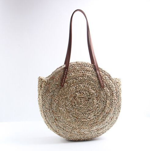 Natural  straw totes bags circle with leather belt shoulder bag aliexpress