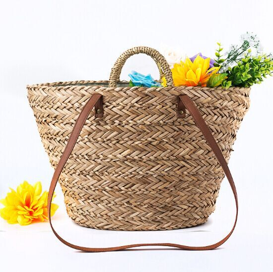 For Sale women summer natural straw bag travel shopping beach fashion tote bag with leather belt bulk
