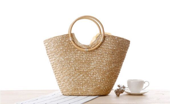 Women Handmade Natural Straw Woven Handbag with flower Beach Bags for summer