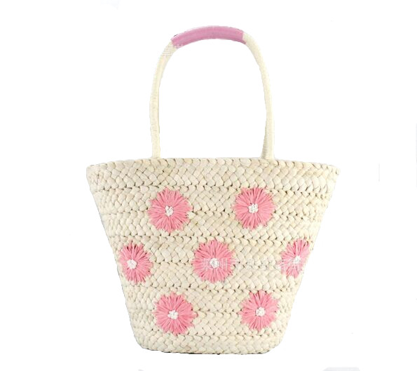 Handmade Cute Straw bagsTote with embroidery flower designer for beach hongkong