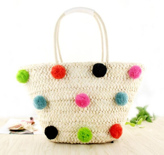 2018 straw  straw bags trend  handmade woman pom poms Classic colorful tassel