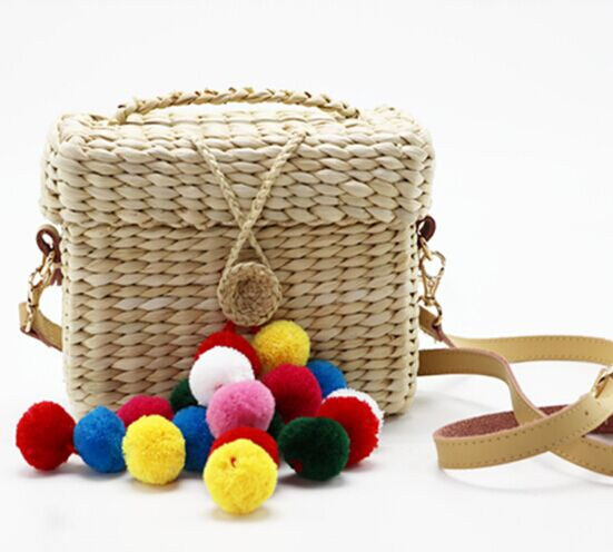 New style Bag-pag Square Cross Body Straw Bags with black red colorful pom poms decoration Canada