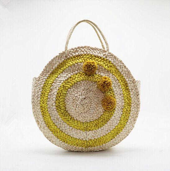2018 New design straw round beach bag for lady with pom poms wholesale cheap