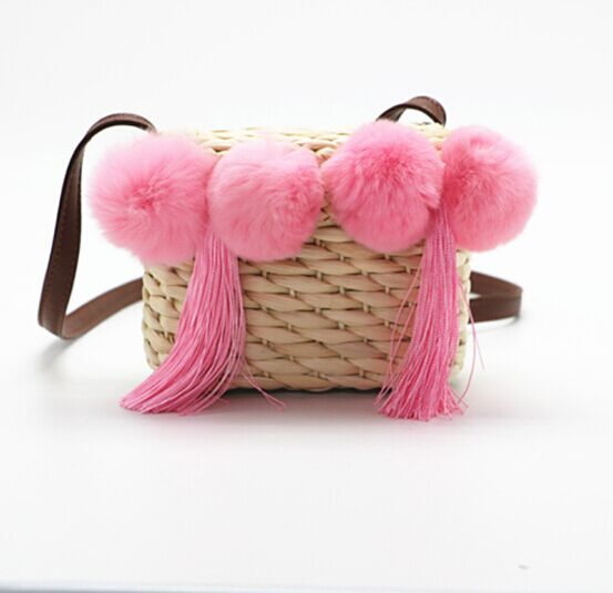 Childrens Cross body straw bag with pink Pom Pom tassel manufacturer for sale