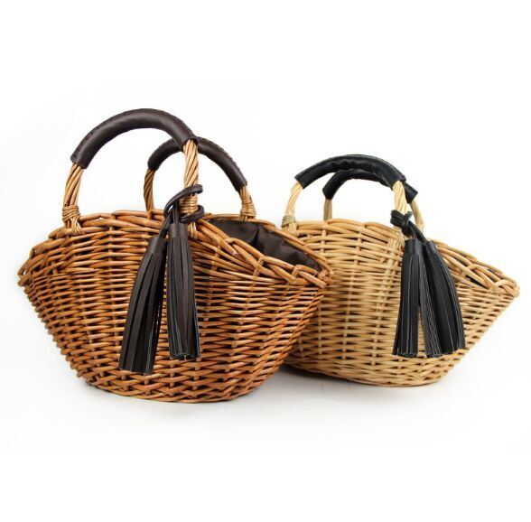 New Fashion women wicker straw bags holder with leather tassel manufacturer